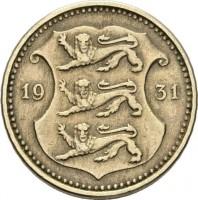 obverse of 10 Senti (1931) coin with KM# 12 from Estonia. Inscription: 19 31