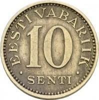 reverse of 10 Senti (1931) coin with KM# 12 from Estonia. Inscription: EESTI VABARIIK 10 SENTI
