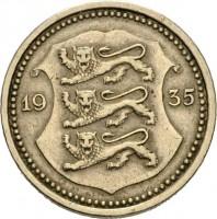 obverse of 20 Senti (1935) coin with KM# 17 from Estonia. Inscription: 19 35