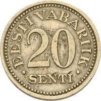 reverse of 20 Senti (1935) coin with KM# 17 from Estonia. Inscription: EESTI VABARIIK 20 SENTI