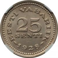 reverse of 25 Senti (1928) coin with KM# 9 from Estonia. Inscription: EESTI VABARIIK 25 SENTI 1928