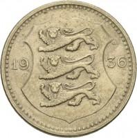 obverse of 50 Senti (1936) coin with KM# 18 from Estonia. Inscription: 19 36