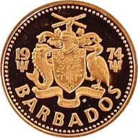 obverse of 1 Cent - Elizabeth II - Heavier (1973 - 1991) coin with KM# 10 from Barbados. Inscription: 19 81 PRIDE AND INDUSTRY BARBADOS