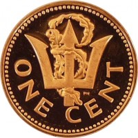 reverse of 1 Cent - Elizabeth II - Heavier (1973 - 1991) coin with KM# 10 from Barbados. Inscription: ONE CENT