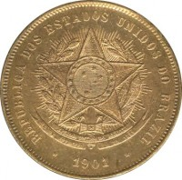 obverse of 20 Réis (1889 - 1912) coin with KM# 490 from Brazil. Inscription: REPUBLICA DOS ESTADOS UNIDOS DO BRAZIL 1901