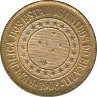 obverse of 40 Réis (1889 - 1912) coin with KM# 491 from Brazil. Inscription: REPUBLICA DOS ESTADOS UNIDOS DO BRAZIL .1908.