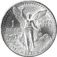 reverse of 1 Onza (1982 - 1995) coin with KM# 494 from Mexico. Inscription: 1<br/>onza<br/>PLATA<br/>PURA<br/>1983 MEXICO Ley 999
