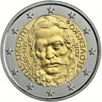 obverse of 2 Euro - 200th Anniversary of the birth of Ľudovít Štúr (2015) coin from Slovakia. Inscription: ĽUDOVÍT ŠTÚR 1815-1856 2015 SLOVENSKO