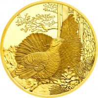 obverse of 100 Euro - The Capercaillie (2015) coin from Austria.