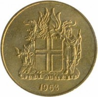 obverse of 2 Krónur (1958 - 1966) coin with KM# 13a.1 from Iceland. Inscription: 1963