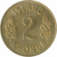 reverse of 2 Krónur (1958 - 1966) coin with KM# 13a.1 from Iceland. Inscription: ÍSLAND 2 KRÓNUR