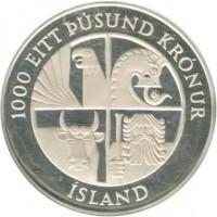 obverse of 1000 Krónur - 1100th Anniversary to 1st Settlement in Iceland (1974) coin with KM# 21 from Iceland. Inscription: 1000 EITT ÞÚSUND KRÓNUR ÍSLAND