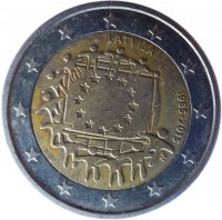 obverse of 2 Euro - 30th Anniversary to European Union flag (2015) coin with KM# 172 from Latvia. Inscription: LATVIJA 1985-2015 ΓΣ