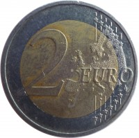 reverse of 2 Euro - 30th Anniversary to European Union flag (2015) coin with KM# 172 from Latvia. Inscription: 2 EURO LL