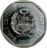 obverse of 1 Nuevo Sol - Wealth and Pride of Peru: Huarautambo (2015) coin with KM# 393 from Peru. Inscription: BANCO CENTRAL DE RESERVA DEL PERÚ 2015
