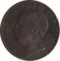 obverse of 10 Centesimi - Vittorio Emanuele III - 50th Anniversary of the Kingdom of Italy (1911) coin with KM# 51 from Italy. Inscription: VITTORIO EMANVELE III RE D'ITALIA D. TRENTACOSTE L. GIORGI INC.