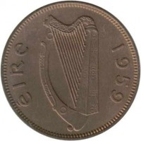obverse of 1 Farthing (1939 - 1966) coin with KM# 9 from Ireland. Inscription: EIRE 1959