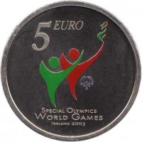 reverse of 5 Euro - 2003 Special Olympics Games (2003) coin with KM# 40 from Ireland. Inscription: 5 EURO SPECIAL OLYMPCS WORLD GAMES IRELAND 2003