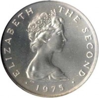 obverse of 1 New Penny - Elizabeth II - 2'nd Portrait (1975) coin with KM# 20a from Isle of Man. Inscription: ELIZABETH THE SECOND · 1975 ·