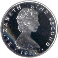 obverse of 1 Penny - Elizabeth II - 2'nd Portrait (1976 - 1979) coin with KM# 33a from Isle of Man. Inscription: ELIZABETH THE SECOND · 1976 ·