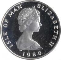 obverse of 1 Penny - Elizabeth II - 2'nd Portrait (1980) coin with KM# 59a from Isle of Man. Inscription: ISLE OF MAN ELIZABETH II · 1980 ·
