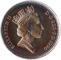 obverse of 1 Penny - Elizabeth II - 25th Anniversary of Decimal Currency - 3'rd Portrait (1996) coin with KM# 935b from United Kingdom. Inscription: ELIZABETH II D · G · REG · F · D · 1996 RDM
