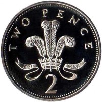 reverse of 2 Pence - Elizabeth II - 25th Anniversary of Decimal Currency - 3'rd Portrait (1996) coin with KM# 936b from United Kingdom. Inscription: TWO PENCE 2