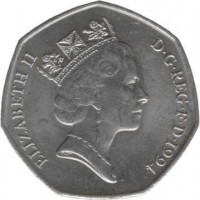 obverse of 50 Pence - Elizabeth II - 50th Anniversary of Normandy Invasion - 3'rd Portrait (1994) coin with KM# 966 from United Kingdom. Inscription: ELIZABETH II D · G · REG · F · D · 1994 RDM