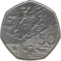 reverse of 50 Pence - Elizabeth II - 50th Anniversary of Normandy Invasion - 3'rd Portrait (1994) coin with KM# 966 from United Kingdom. Inscription: 50 PENCE