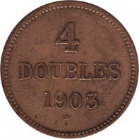 reverse of 4 Doubles - Edward VII / George V (1902 - 1911) coin with KM# 5 from Guernsey. Inscription: 4 DOUBLES 1903