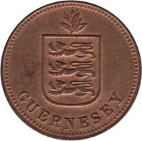 obverse of 2 Doubles - George V (1914 - 1929) coin with KM# 12 from Guernsey. Inscription: GUERNESEY
