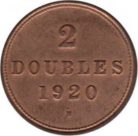 reverse of 2 Doubles - George V (1914 - 1929) coin with KM# 12 from Guernsey. Inscription: 2 DOUBLES 1920