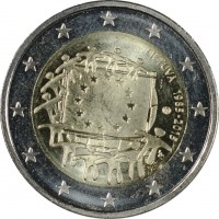 obverse of 2 Euro - 30th Anniversary to European Union flag (2015) coin from Lithuania. Inscription: LIETUVA 1985-2015