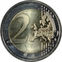 reverse of 2 Euro - 30th Anniversary to European Union flag (2015) coin from Lithuania. Inscription: 2 EURO LL