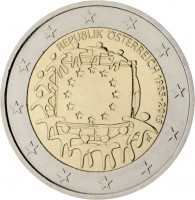 obverse of 2 Euro - 30th Anniversary to European Union flag (2015) coin with KM# 3247 from Austria. Inscription: REPUBLIK ÖSTERREICH 1985-2015