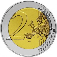 reverse of 2 Euro - 30th Anniversary to European Union flag (2015) coin with KM# 102 from Cyprus. Inscription: 2 EURO LL