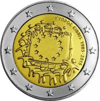 obverse of 2 Euro - 30th Anniversary to European Union flag (2015) coin with KM# 102 from Cyprus. Inscription: ΚΥΠΡΟΣ KIBRIS 1985-2015