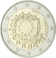 obverse of 2 Euro - 30th Anniversary to European Union flag (2015) coin from Estonia. Inscription: EESTI 1985-2015