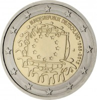 obverse of 2 Euro - 30th Anniversary to European Union flag (2015) coin with KM# 339 from Germany. Inscription: BUNDESREPUBLIK DEUTSCHLAND 1985-2015