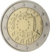 obverse of 2 Euro - 30th Anniversary to European Union flag (2015) coin with KM# 84 from Ireland. Inscription: éIRe 1985-2015