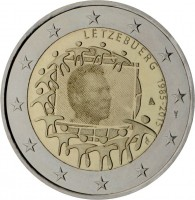 obverse of 2 Euro - Henri I - 30th Anniversary to European Union flag (2015) coin from Luxembourg. Inscription: LËTZEBUERG 1985-2015