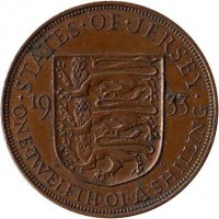 reverse of 1/12 Shilling - George V (1931 - 1935) coin with KM# 16 from Jersey. Inscription: · STATES · OF · JERSEY · 19 33 ONE · TWELFTH · OF · A · SHILLING
