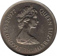 obverse of 25 Pence - Elizabeth II - 25th Anniversary of Reign of Queen Elizabeth II: Mont Orgueil (1977) coin with KM# 44 from Jersey. Inscription: QUEEN ELIZABETH THE SECOND 1952-1977