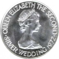 obverse of 50 Pence - Elizabeth II - 25th Anniversary of the Wedding of Queen Elizabeth II and Prince Philip (1972) coin with KM# 35 from Jersey. Inscription: QUEEN ELIZABETH THE SECOND · SILVER WEDDING 1972 ·