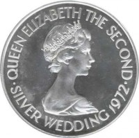 obverse of 1 Pound - Elizabeth II - 25th Anniversary of the Wedding of Queen Elizabeth II and Prince Philip (1972) coin with KM# 36 from Jersey. Inscription: QUEEN ELIZABETH THE SECOND · SILVER WEDDING 1972 ·
