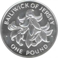 reverse of 1 Pound - Elizabeth II - 25th Anniversary of the Wedding of Queen Elizabeth II and Prince Philip (1972) coin with KM# 36 from Jersey. Inscription: BAILIWICK OF JERSEY · ONE POUND ·