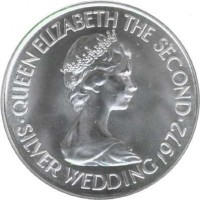 obverse of 2 Pounds - Elizabeth II - 25th Anniversary of the Wedding of Queen Elizabeth II and Prince Philip (1972) coin with KM# 37 from Jersey. Inscription: QUEEN ELIZABETH THE SECOND · SILVER WEDDING 1972 ·