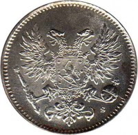 obverse of 50 Penniä - Nicholas II (1917) coin with KM# 20 from Finland.
