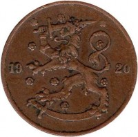 obverse of 5 Penniä (1918 - 1940) coin with KM# 22 from Finland. Inscription: 19 20