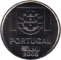 obverse of 1.5 Euro - Internaitonal Medical Care: AMI (2008) coin with KM# 828 from Portugal. Inscription: PORTUGAL AMI 2008